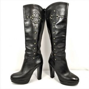 Tory Burch Colleen Boots Black Leather Zipper Stud